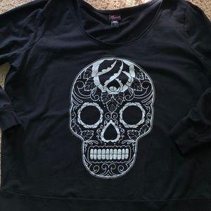 Torrid Black Glitter Skull Sweatshirt 3xl